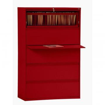 Sandusky 800 Series 5 Drawer Lateral File Red Color