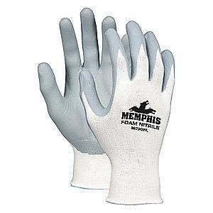 MCR 13 Gauge Foam Nitrile Coated Gloves, L, Gray/White