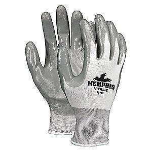 MCR 13 Gauge Flat Nitrile Coated Gloves, L, Gray/White