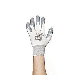 MCR 15 Gauge Smooth Nitrile Coated Gloves, M, Gray/White