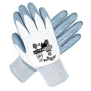 MCR 15 Gauge Smooth Nitrile Coated Gloves, S, Gray/White