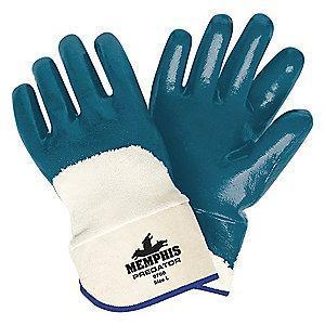 MCR Flat Nitrile Coated Gloves, L, Natural/Blue