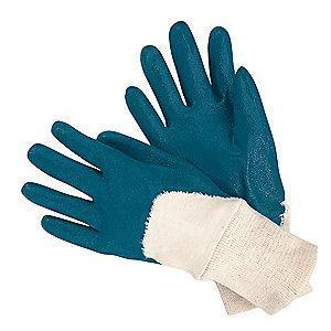 MCR 13 Gauge Flat Nitrile Coated Gloves, L, Natural/Blue