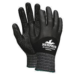 MCR 15 Gauge Dotted Nitrile Coated Gloves, M, Black