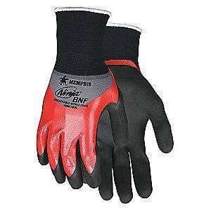 MCR 18 Gauge Smooth Nitrile Coated Gloves, XS, Black/Red
