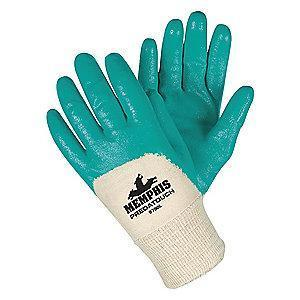 MCR Smooth Nitrile Coated Gloves, L, Green