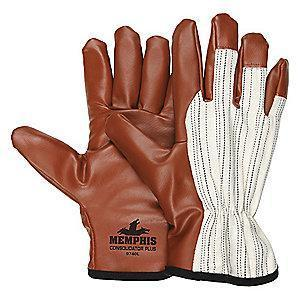 MCR Smooth Nitrile Coated Gloves, M, White/Burgundy