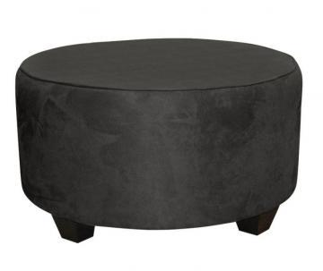 Skyline Cocktail Ottoman, Round In Premier Black