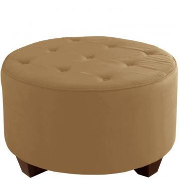 Skyline Round Cocktail Ottoman, Premier Microsuede, Saddle