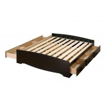 Prepac Black Full Mates Platform Storage Bed with 6 Drawers