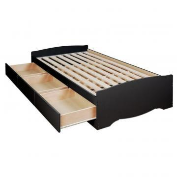 Prepac Black Twin Mates Platform Storage Bed with 3 Drawers