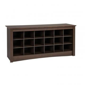 Prepac Shoe Storage Cubbie Bench in Espresso