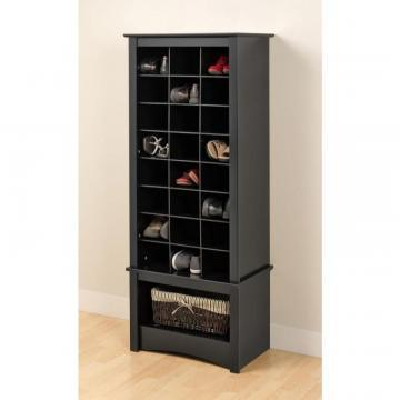 Prepac Black Tall Shoe Cubbie Cabinet