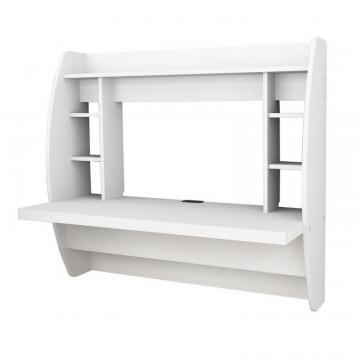 Prepac Floating Wall-Mounted Desk with Storage in White