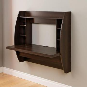 Prepac Floating Wall-Mounted Desk with Storage in Espresso