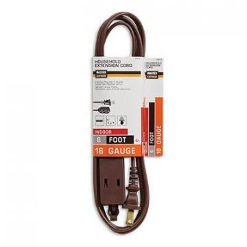 Master Electrician Extension Cord, 16/2 SPT-2 Brown Polarized Cube Tap, 6-Ft.