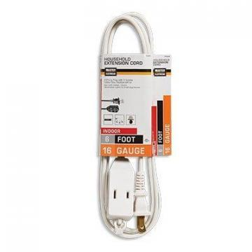 Master Electrician Extension Cord,  16/2 SPT-2 White Polarized Cube Tap, 6-Ft.
