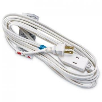Master Electrician Extension Cord, 16/2 SPT-2 White Polarized Cube Tap, 12-Ft.