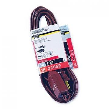 Master Electrician Extension Cord,  16/2 SPT-2 Polarized Cube Tap, Brown, 15-Ft.