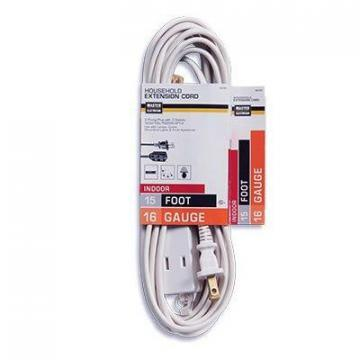 Master Electrician Extension Cord, 16/2 SPT-2 Polarized Cube Tap, White, 15-Ft.