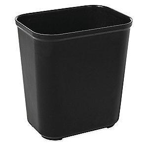 "Rubbermaid 7 gal. Open Top Decorative Wastebasket, 15-5/16""H, Black"