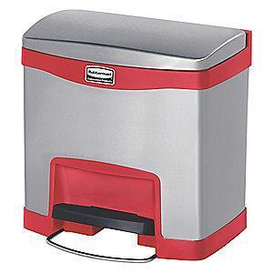 "Rubbermaid Slim Jim 4 gal. Flat Top Utility Wastebasket, 19""H, Red"
