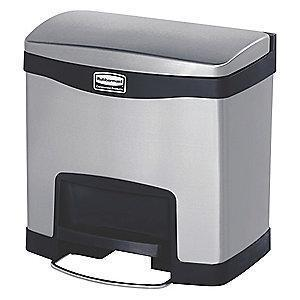 "Rubbermaid Slim Jim 4 gal. Flat Top Utility Wastebasket, 19""H, Black"