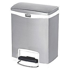 "Rubbermaid Slim Jim 8 gal. Flat Top Utility Wastebasket, 25""H, White"