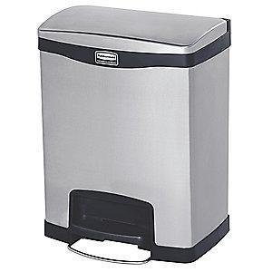 "Rubbermaid Slim Jim 8 gal. Flat Top Utility Wastebasket, 25""H, Black"