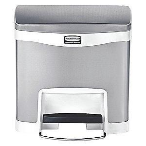 "Rubbermaid Slim Jim 4 gal. Flat Top Utility Wastebasket, 19""H, White"