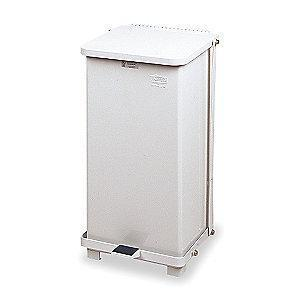 "Rubbermaid Defender 12 gal. Square Flat Top Decorative Wastebasket, 23""H, White"
