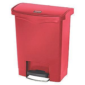 "Rubbermaid Slim Jim 8 gal. Flat Top Utility Wastebasket, 21-7/64""H, Red"
