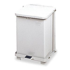 "Rubbermaid Defender 7 gal. Square Flat Top Decorative Wastebasket, 17""H, White"