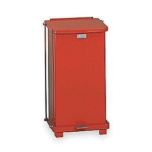 "Rubbermaid Defender 12 gal. Square Flat Top Decorative Wastebasket, 23""H, Red"