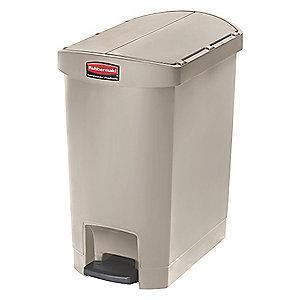 "Rubbermaid Slim Jim 8 gal. Flat Top Utility Wastebasket, 22-17/64""H, Beige"