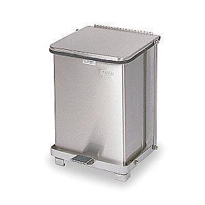 "Rubbermaid Defender 7 gal. Square Flat Top Decorative Wastebasket, 17""H, Silver"