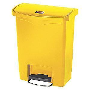 "Rubbermaid Slim Jim 8 gal. Flat Top Utility Wastebasket, 21-7/64""H, Yellow"