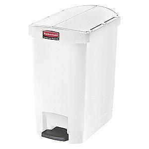 "Rubbermaid Slim Jim 8 gal. Flat Top Utility Wastebasket, 22-17/64""H, White"