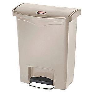 "Rubbermaid Slim Jim 8 gal. Flat Top Utility Wastebasket, 21-7/64""H, Beige"