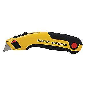 "Stanley Black/Yellow, Carbon Steel Utility Knife, 6-5/8"", Blades Included: 5"