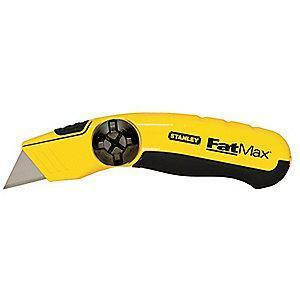 "Stanley Black/Yellow, Carbon Steel Utility Knife, 6-1/4"", Blades Included: 3"