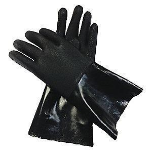 Condor Chemical Resistant Gloves, Heavy Thickness, Cotton Lining, Black