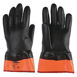 Condor Chemical Resistant Gloves, Medium Thickness, Jersey Lining, Black/Orange