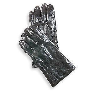 Condor Chemical Resistant Gloves, Interlock Knit Lining, Black, PR 1