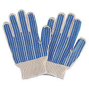 Condor Natural/Blue Abrasion Resistant Knit Gloves, Polyester/Cotton, Size S
