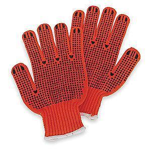 Condor High Visibility Orange/Black Abrasion Resistant Knit Gloves, Acrylic, S