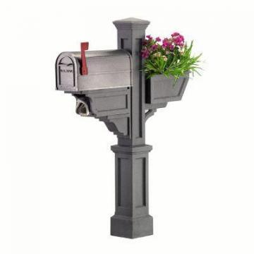 Mayne Signature Plus Mailbox Post with planter & paper holder
