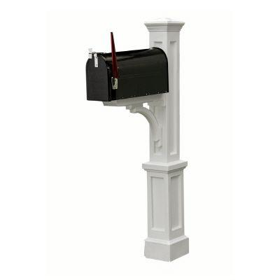 Mayne Newport Plus Mailbox Post (White) mailbox post