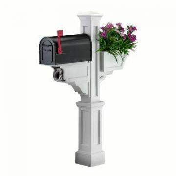 Mayne Signature Plus Mailbox Post (White) with planter & paper holder