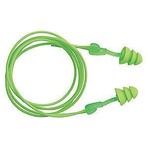 Moldex 27dB Reusable Flanged-Shape Ear Plugs; Corded, Green